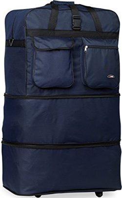 30″/36″/40″/ Rolling Wheeled SuitCase (40″, Navy)