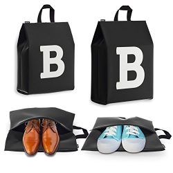 Personalized Initial Travel Shoe Bag (4 Pack) for Men, Women and Kids – (Letter B)