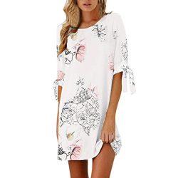 Rakkiss Women Summer Half Sleeve Bow Bandage Floral Striaght Casual Short Mini Dress (White, XL)
