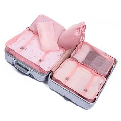 7pcs Travel Packing Cubes Lightweight Waterproof Compression Luggage Laundry Large Storage Toile ...