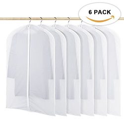Garment Bag, Clear Moth Proof Suit Cover, 6 Pack Breathable PEVA Garment Protector Covers, Full  ...