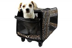 Pet Smart Cart, Small, Leopard, Rolling Carrier with wheels soft sided collapsible Folding Trave ...