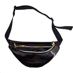 Dolores Women's PVC Hologram Fanny Pack Belt Waist Bum Bag Laser Travel Beach Purse, Black