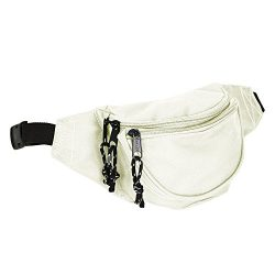 DALIX Fanny Pack w/3 Pockets Traveling Concealment Pouch Airport Money Bag (Nude)