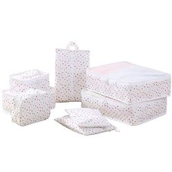 Travel Packing Cubes Set Toiletry Kits Bonus Shoe Bag JJ POWER Luggage Organizers (Color Dot (bi ...