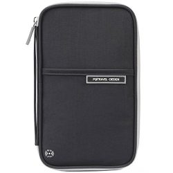 VanFn Passport Wallets, Travel Wallet, RFID Family Passport Holder, Trip Document Organizer (Black)