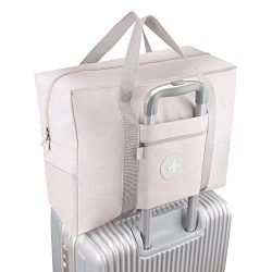 Foldable Travel Bag Waterproof Travel Tote Bag Foldable Bag Fully Lined with Gray Fabric (UPGRADE)