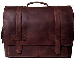 Genuine Leather Messenger Laptop Bag/Briefcase for Men, LOGAN, fits 15.4 inch Laptop, adjustable ...