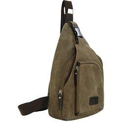 SAYGOER Canvas Sling Bag Chest Bag Pack Small Travel Unbalance Crossbody Bag Men Women with Adju ...