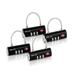 Elzo TSA Approved Luggage Lock, Easy Read Dials and 3 Digits Combination – 4 Pack