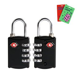 TSA approved Luggage Lock(2 packs),Disveo Resettable 4-digit Combo Combination Padlock Travel Lo ...