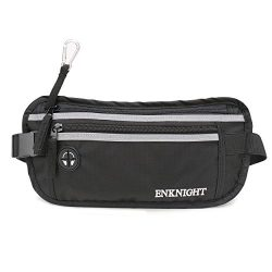 ENKNIGHT Big RFID Money Belt for Travel Running Waist Pack Fanny Pack Black