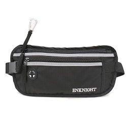 ENKNIGHT Big RFID Money Belt for Travel Running Waist Pack Fanny Pack Black