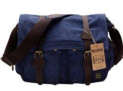 Berchirly Retro Unisex Canvas Leather Messenger Shoulder Bag Fits 17.3″ Laptop