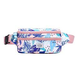 521s Fashion Waist Bag Cute Fanny Pack   8.0″x2.5″x4.3″   Pink Tropical