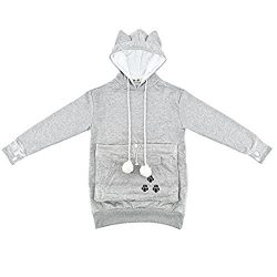 NewEGG Hoodies Pet Holder Cat Dog Kangaroo Pouch Carriers Pullover Sweater, Grey, Small