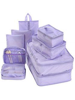 Travel Packing Cubes Set Toiletry Kits Bonus Shoe Bag JJ POWER Luggage Organizers (Purple)