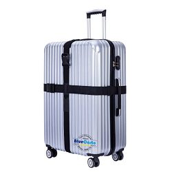 BlueCosto Long Cross Luggage Strap Suitcase Travel Belt Non-slip Heavy Duty – Black