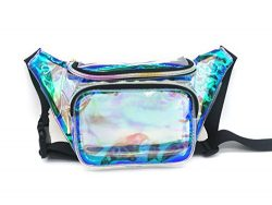 Dolores Women Fashion Hologram Laser Waist Bag Clear Fanny Pack Zipper Waterproof Chest Pack Bum ...