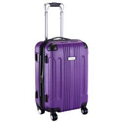 Goplus GLOBALWAY Expandable 20″ ABS Carry On Luggage Travel Bag Trolley Suitcase (Purple)