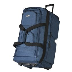 Olympia Luggage 29″ 8 Pocket Rolling Duffel Bag (Navy w/ Black – Exclusive Color)
