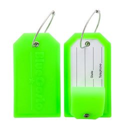 BlueCosto Luggage Tags Suitcase Labels Tag Privacy Cover Steel Loops – Green, Pack of 2