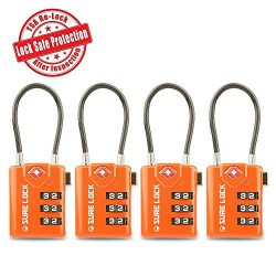 SURE LOCK TSA Compatible Travel Luggage Locks, Inspection Indicator, Easy Read Dials- 1, 2 & ...