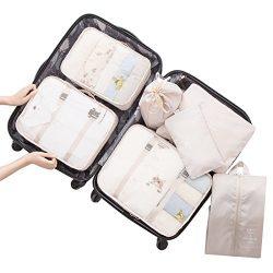 Belsmi 7 Set Packing Cubes With Shoe Bag – Compression Travel Luggage Organizer (Beige)