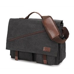 Mens Messenger Bag,17.3 Inch Water Resistant Canvas Satchel Large Black Vintage Shoulder Busines ...
