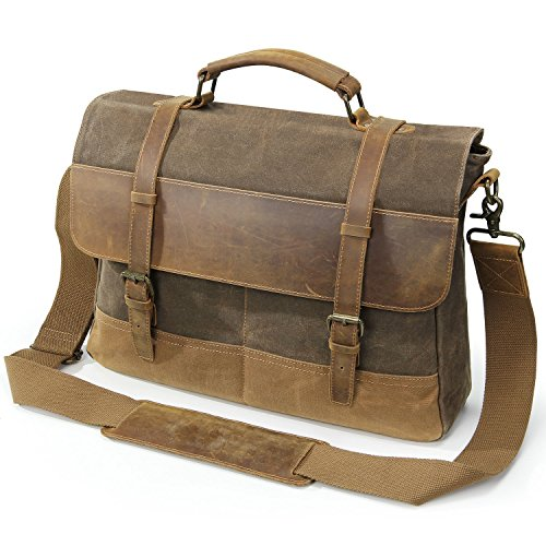 ef424ffa4ff6 Lifewit Mens Messenger Bag 15.6 Inch Waterproof Vintage Waxed Canvas  Genuine Leather Laptop Bag .