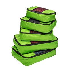 TravelWise Packing Cube System – Durable 5 Piece Weekender+ Set (Lime Green)