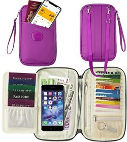 Passport Wallet Holder for Men&Women, w/RFID Blocking Document Holder Organiser Purple Trave ...