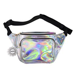 WODODO Fanny Pack for Women Party Waist Festival Money Belt Leather Pouch Concert Holographic Wa ...