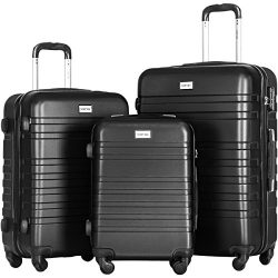 Merax Luggages 3 Piece Luggage Set Lightweight Spinner Suitcase (Black)
