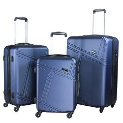 3 PC Luggage Set Durable Lightweight Spinner Suitecase LUG3 1610 NAVY