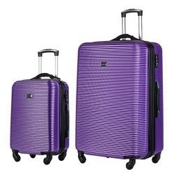 2 PC Luggage Set Durable Lightweight Hard Case Spinner Suitecase 20in29in LUG2 LY06SCALE PURPLE