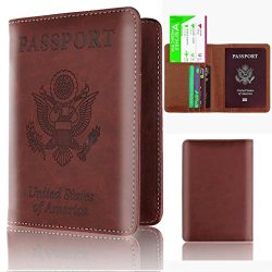 Nacome Passport Holder Travel Cover Case, Leather RFID Blocking Wallet For Passport (F)