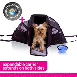 Ruff n Ruffus Dual Expandable Soft Pet Carrier + FREE BOWL | Airline Approved | Safe for use as  ...