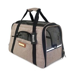 Pawfect Pets Pet Travel Carrier, Soft-Sided with Two Pet Mats for Small Dogs and Cats (Khaki)