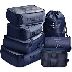 Packing Cubes 7 Set Lightweight Travel Luggage Organizers with Laundry Bag or Toiletry Bag (Navy)