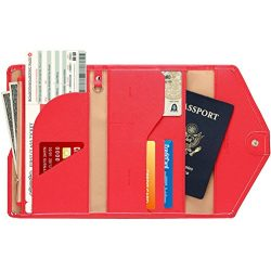 Women RFID Blocking Wallet, TEOYALL Travel Passport PU Leather Long Trifold Wallet (Red)