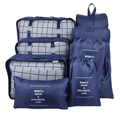 8 Set Packing Organizer,Waterproof Mesh Travel Luggage Packing Cubes with Laundry Bag Shoes Bag  ...