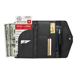 Women RFID Blocking Wallet, TEOYALL Travel Passport PU Leather Long Trifold Wallet (Black Plus)