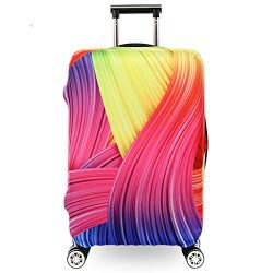Fvstar Washable Luggage Cover Spandex Suitcase Cove Protective Bag (L, Colorful 22)
