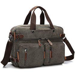 TECOOL Canvas Messenger Shoulder Bag Convertible Laptop Backpack Business Briefcase Handbag Trav ...