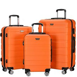 Resena 3 Pieces Hardside Spinner Luggage Sets ABS Travel Lightweight Carry On Suitcase (20″ ...