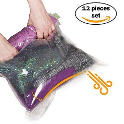 12 Travel Storage Bags for Clothes – Compression Bags for Travel – No Vacuum Sacks-S ...