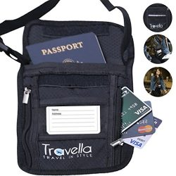 RFID Passport Holder Neck Wallet– Anti-theft Document and Passport Travel Wallet – Blocking Case ...