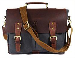 "14.5"" Vintage Handmade Leather Canvas Messenger Bag | Multiple Compartments & Zippered Pocke ..."