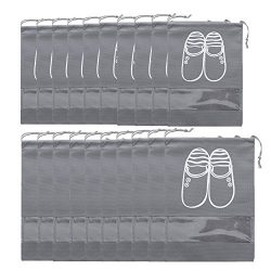 Selric Pack of 20 Breathable Non-woven Travel Storage Shoes Bags Organizer Drawstring Bags with  ...